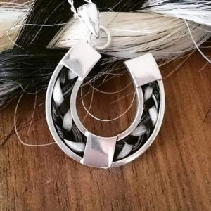 Sterling Silver Horseshoe Pendant inlaid with Horse Hair Braid